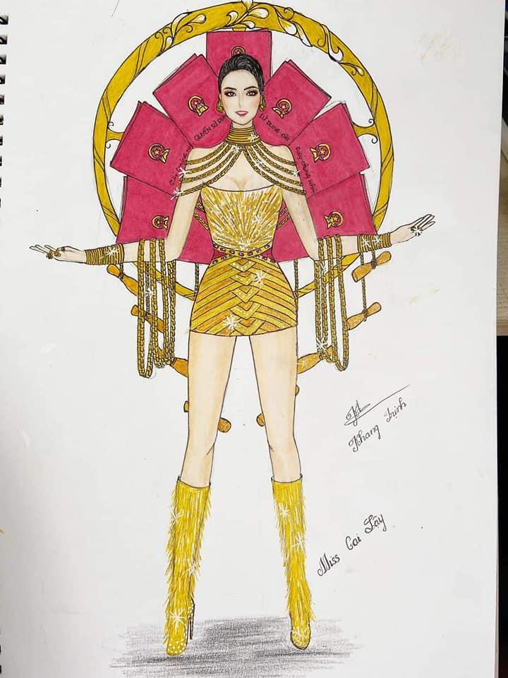 Bản thiết kế trang phục dân tộc 7 miếng đất cho Khánh Vân thi Miss Universe 2020 gây tranh cãi-5
