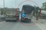 Xe chở hàng nghiêng hẳn một bên khi chạy trên đường