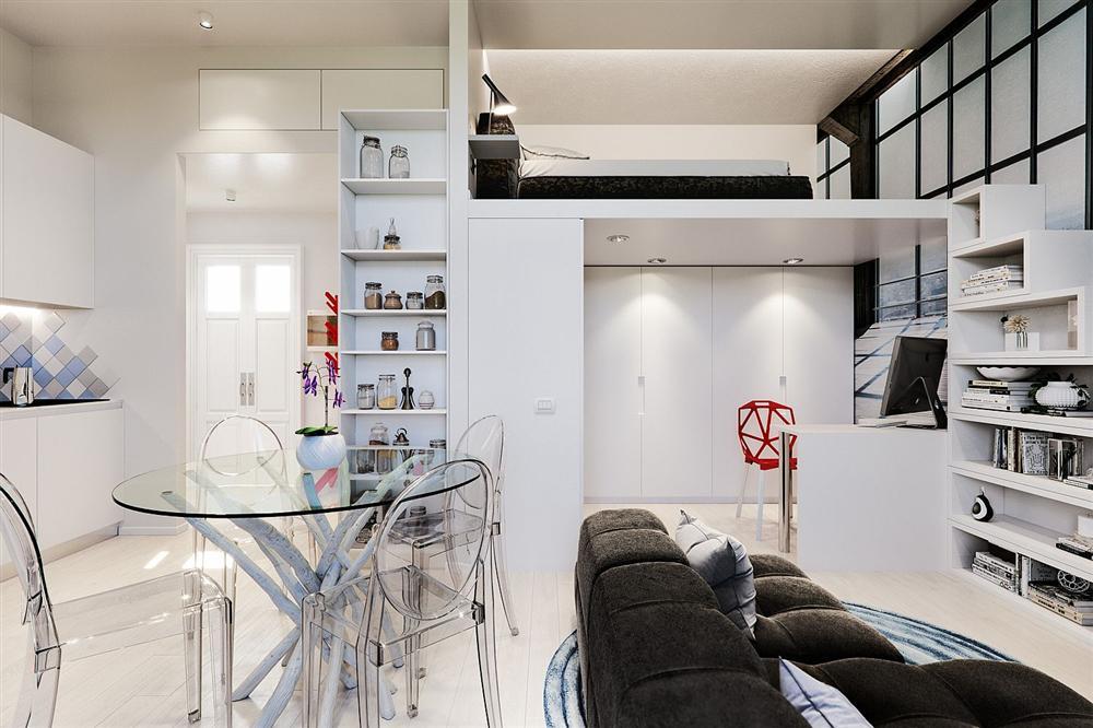 Chỉ vỏn vẹn 29m² nhưng căn hộ dưới đây vẫn gây thương nhớ với màu trắng tinh khôi cùng nội thất siêu tiết kiệm không gian-3
