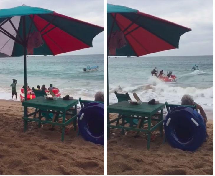 Bỏ cả triệu để chơi trò mạo hiểm, 4 vị khách bất ngờ gặp biến làm lật nhào giữa biển, khiến tất cả các vị khách trên bờ đều cười ngặt nghẽo-1