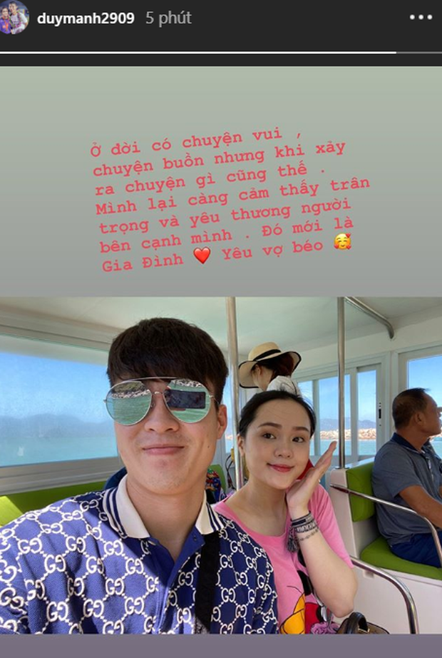 Nhiều ngày sau tin đồn căng thẳng với Quỳnh Anh, Duy Mạnh chia sẻ đầy ngọt ngào: Sau những chuyện vui buồn, cảm thấy càng yêu vợ béo hơn-1