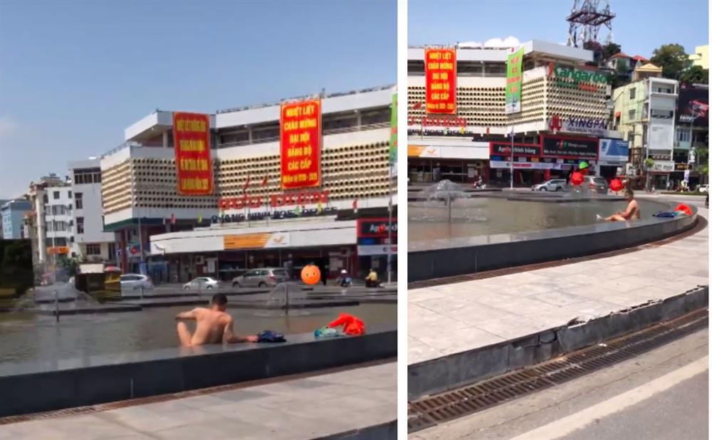 Người đàn ông thản nhiên thả rông ngồi nghịch nước dưới chân cột đồng hồ 35 tỷ giữa trung tâm TP Hạ Long-2