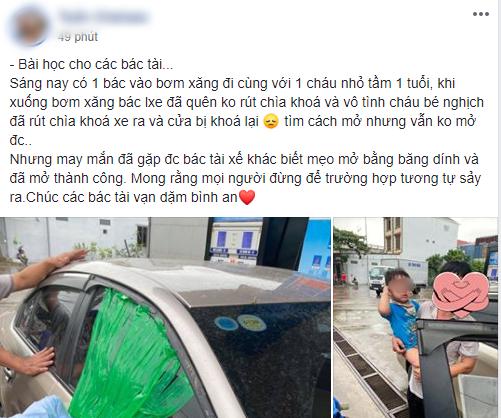 Xôn xao thông tin cháu bé 1 tuổi bị mắc kẹt trên ô tô vì người lớn quên rút chìa khóa khi xuống xe-1