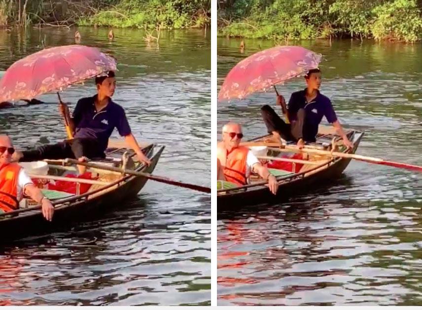 Hình ảnh người đàn ông chèo thuyền ở Tràng An với tư thế có 1-0-2 bất ngờ được khách nước ngoài khen nức nở và nổi khắp mạng Tiktok-1