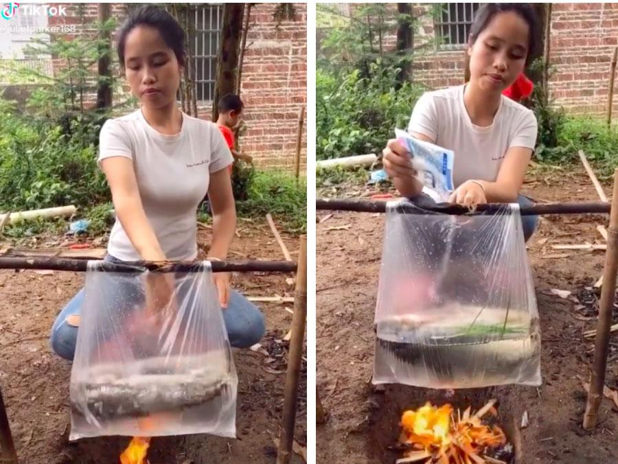 Cô gái nấu cá bằng... túi nilon cực điệu nghệ, dân mạng xem xong tròn mặt ngạc nhiên mà chẳng lý giải nổi tại sao-1