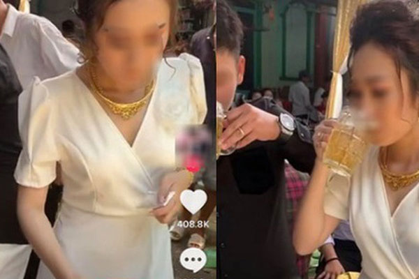 Cô dâu nhận 400 ngàn lượt like vì uống bia trong đám cưới