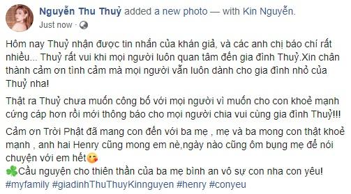Thu Thủy tuyên bố mang thai với ông xã kém 10 tuổi-1