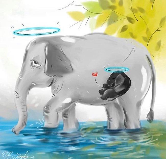 Vụ voi mẹ mang thai chết tức tưởi vì ăn phải dứa nhồi pháo nổ: Những bức tranh tưởng niệm chứa đựng nỗi đau khiến thế giới phải suy ngẫm-5