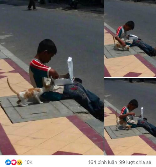 Cậu bé lem luốc ngồi bệt trên vỉa hè giữa trời nắng, tay bốc thức ăn nhưng lại có hành động cực đặc biệt với chú mèo lạ khiến bao người xúc động-1