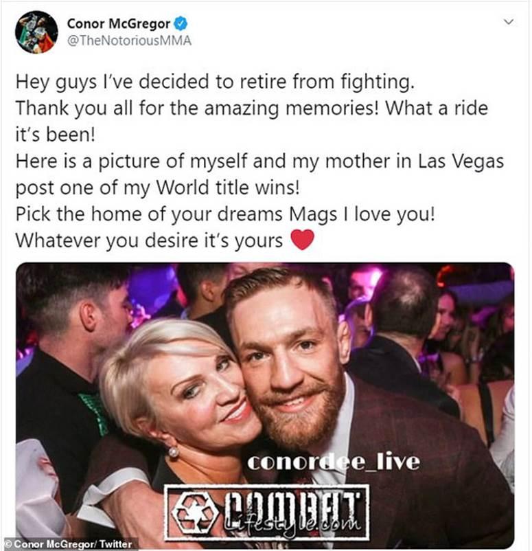 Gã điên Conor McGregor khiến các fan sốc nặng khi bất ngờ tuyên bố giải nghệ ở tuổi 31-1