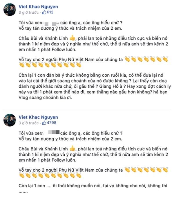 Vũ Khắc Tiệp lần đầu lên tiếng đáp trả Khắc Việt sau khi bị chỉ trích chuyện cách ly: Tại sao bạn nói tôi đàn bà mà không nghĩ ngược lại nhỉ?-2
