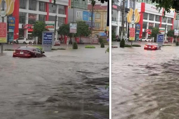 Đường mưa ngập, tài xế vẫn cố cho xe chạy qua và cái kết ngập trong biển nước-1