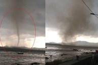 Cảnh lốc xoáy hình thành hút nước lên trời ở Thanh Hóa