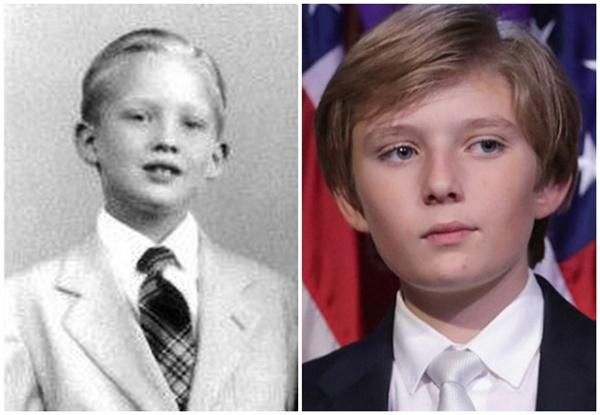 Minh chứng cho thấy hoàng tử Nhà Trắng Barron Trump giống cha như 2 giọt nước, thừa hưởng nhan sắc thời trẻ của Tổng thống Mỹ-2