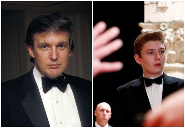 Minh chứng cho thấy hoàng tử Nhà Trắng Barron Trump giống cha như 2 giọt nước, thừa hưởng nhan sắc thời trẻ của Tổng thống Mỹ-3