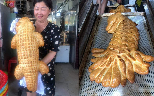Bánh mì cá sấu khổng lồ gây bão, ngày bán trăm chiếc-2