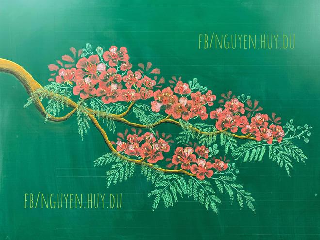 Thầy giáo 9X vẽ hoa phượng đỉnh cao giống y như thật, xem đến ảnh chữ viết càng phục hơn-2