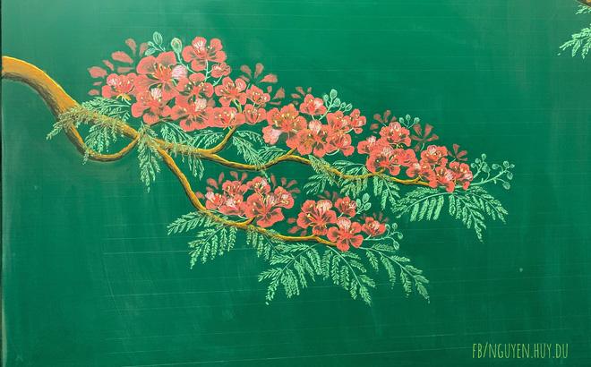 Thầy giáo 9X vẽ hoa phượng đỉnh cao giống y như thật, xem đến ảnh chữ viết càng phục hơn-3
