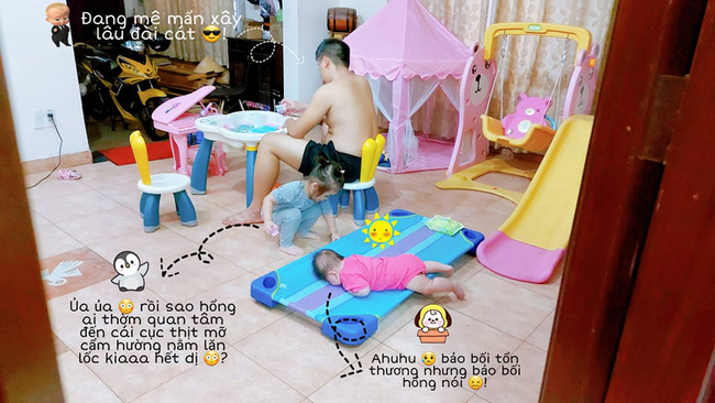 Cười xỉu cảnh bố trông con có 1-0-2: Không chỉ giành đồ chơi của đứa lớn mà còn để đứa bé nằm như cá mắc cạn đến thương-1