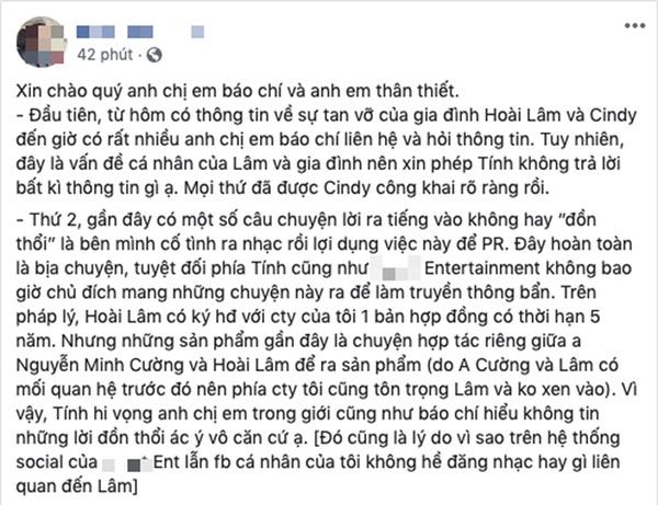Đại diện Hoài Lâm chính thức lên tiếng về nghi vấn mượn chuyện tan vỡ để PR, tiết lộ tình trạng đáng lo của nam ca sĩ-1