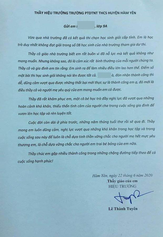 Tâm thư thầy hiệu trưởng gửi nữ sinh duy nhất trượt học sinh giỏi: Từng dòng chữ khiến ai đọc cũng rơi nước mắt!-1