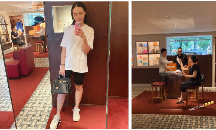 Bà bầu Quỳnh Anh khiến fan giật mình vì khuôn mặt khác lạ, còn khoe mua túi Hermes để đựng bỉm cho con-4