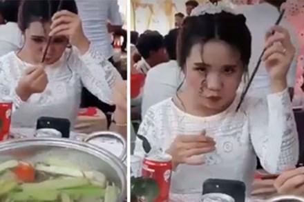 Đang đi ăn tiệc với vẻ ngoài xinh hết phần thiên hạ, cô gái bất ngờ hơ nóng chiếc đũa rồi làm một hành động khó hiểu khiến tự nàng nhận về kết quả