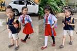 Hết cho con trai để tóc dài, Ốc Thanh Vân lại cho con gái đi tất cọc cạch đến trường
