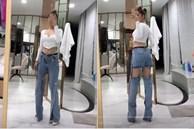 Chán hở trước, Ngọc Trinh lại diện mốt quần jeans hở toang hoác phía sau