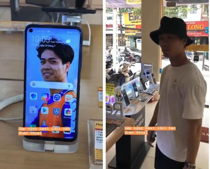Hài hước: Công Phượng bị bạn troll trong shop bán điện thoại, bối rối khi thấy ảnh của mình trên hàng mẫu-1