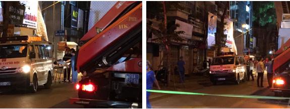 Hà Nội: Sập giàn giáo trên phố Nguyễn Công Trứ, nhiều công nhân rơi từ tầng cao xuống đất-7