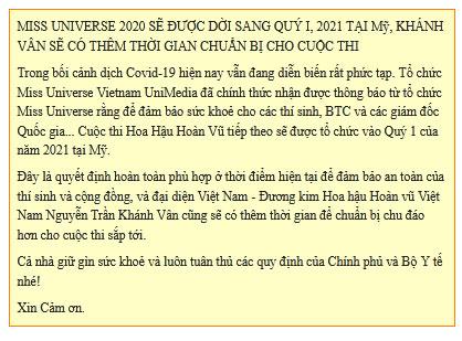 Miss Universe 2020 chính thức thông báo hoãn thi, Khánh Vân phải chờ đến năm sau: Nguyên nhân là gì?-3