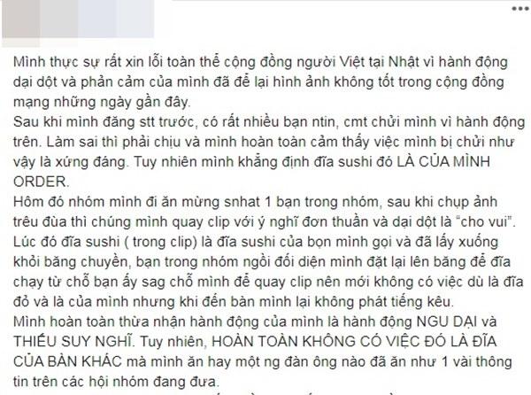 Cô gái Việt bị dân mạng chỉ trích kịch liệt vì thè lưỡi liếm đĩa sushi đang chạy trên băng chuyền trong cửa hàng ở Nhật Bản-5