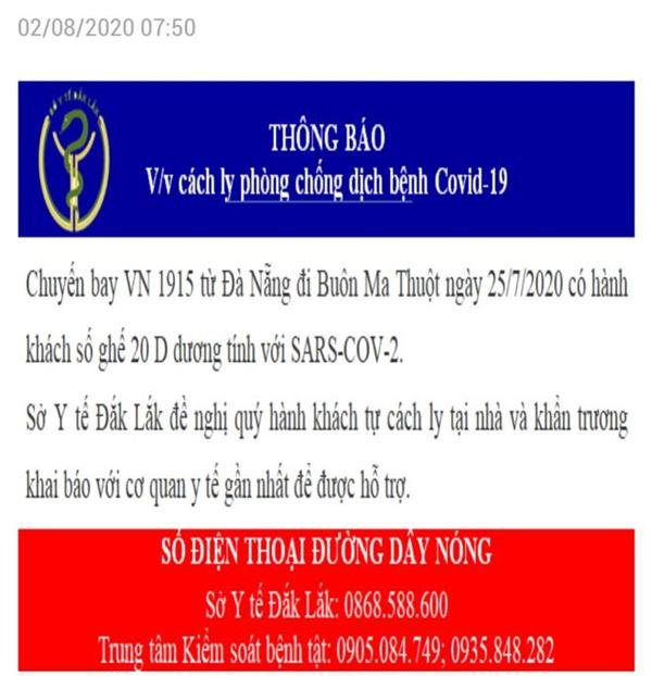 Đắk Lắk ra thông báo khẩn tìm người đi chuyến bay có ca dương tính SARS-COV-2-1