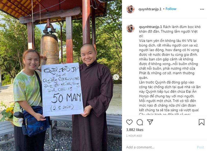 Quỳnh Trần JP nhận được cơn mưa lời khen khi tiếp tục ủng hộ hơn 100 triệu đồng cùng Việt Nam vượt qua đại dịch-1