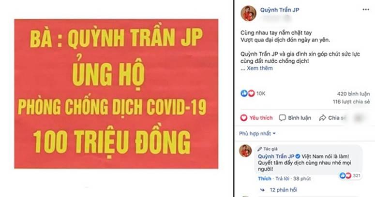 Quỳnh Trần JP nhận được cơn mưa lời khen khi tiếp tục ủng hộ hơn 100 triệu đồng cùng Việt Nam vượt qua đại dịch-2