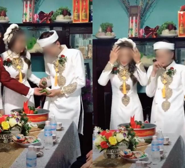 Quá mừng vì lấy được vợ, chú rể vén áo làm một hành động khiến tất cả mọi người phải ồ lên trong lễ ăn hỏi, cô dâu cũng cười đến mức phải quay lưng đi-2
