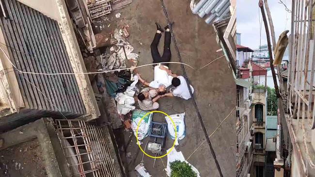 Hà Nội: Xe rùa rơi từ tầng 5 ngôi nhà đang thi công trúng người đi đường, một người đàn ông nhập viện cấp cứu-1
