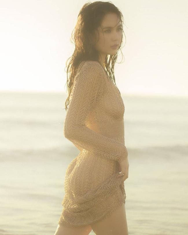 Ngọc Trinh tung loạt ảnh sexy trên biển nhưng lộ cả vòng 1 vì không mặc áo ngực?-3
