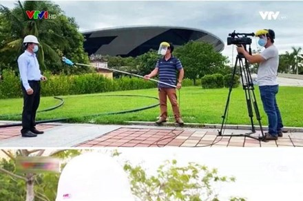 Hậu trường phỏng vấn thời Covid của phóng viên VTV: Đeo kính chống giọt bắn cẩn thận, quấn khẩu trang cả mic, đứng cách xa khách mời 2 mét