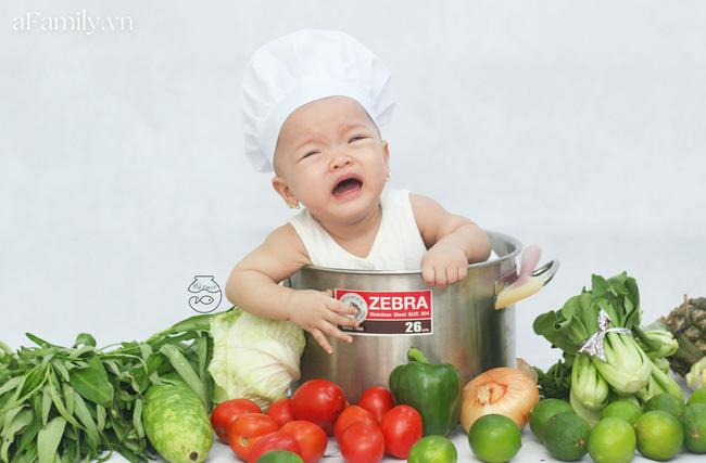 Nhờ mỗi chiếc nồi luộc gà và rau củ trong bếp, mẹ trẻ giúp con có ngay bộ ảnh xịn mịn chẳng kém gì ngoài tiệm-4