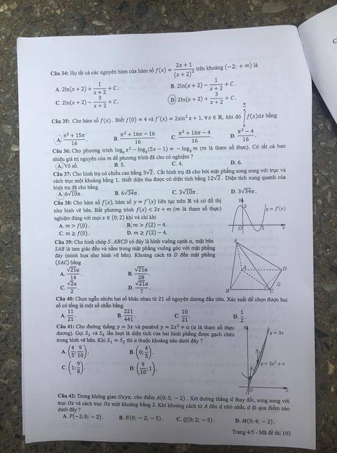 Đã có đề thi tốt nghiệp THPT môn Toán, dài 5 trang với 50 câu hỏi như sau-3