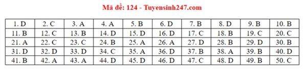 Đáp án đề thi tốt nghiệp THPT Quốc gia 2020 môn Toán (tất cả mã đề)-24