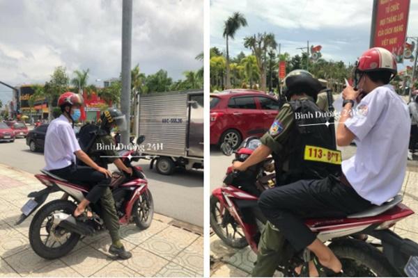 Đang đi thi thì bị hỏng xe giữa đường, nam sinh được chú Cảnh sát giao thông chở đến trường-1