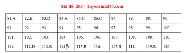 Đáp án đề thi tốt nghiệp THPT Quốc gia 2020 môn Sinh (24 mã đề)-1