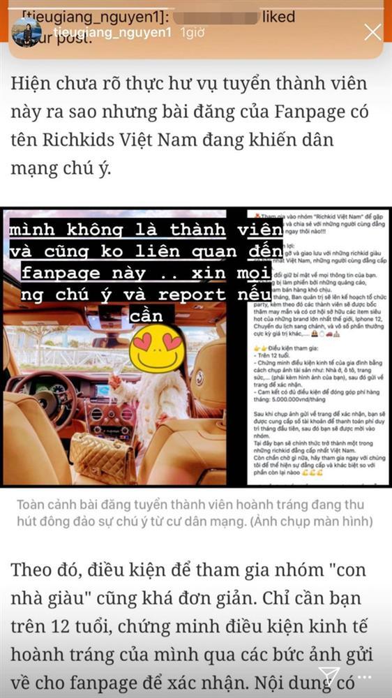 Tiểu Giang - chị cả giới con nhà giàu lên tiếng khi bị fanpage rich kid lấy ảnh tuyển hội viên, thu phí 5 triệu/tháng-2