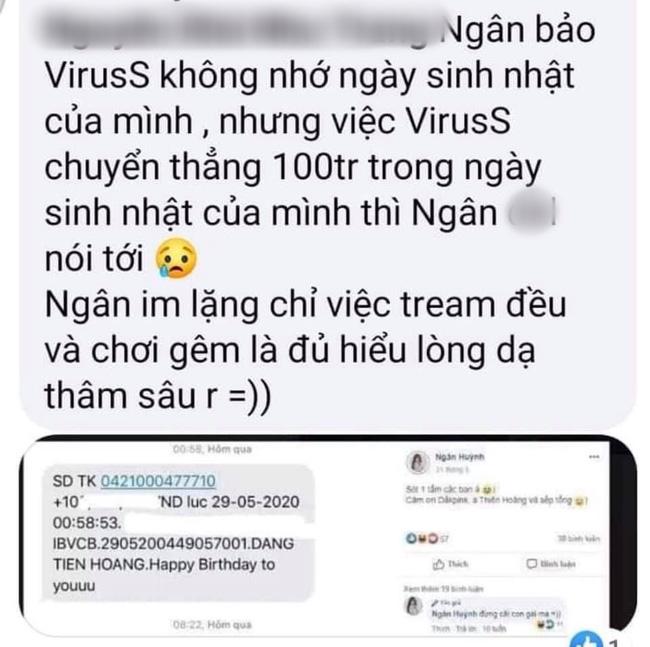 Ngân Sát Thủ mắc quai khi bị bóc phốt nói dối rằng ViruSs không quan tâm nhưng thực tế được chuyển khoản 100 triệu vào ngày sinh nhật-6