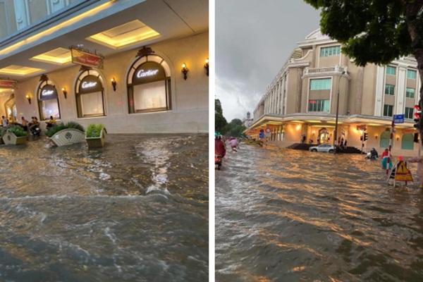 Mưa lớn trút xuống hàng giờ khiến nhiều tuyến phố Hà Nội thành sông, ô tô và xe máy bơi trong nước-1