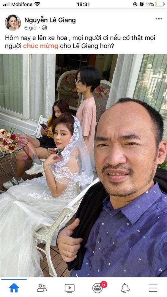Lê Giang khoe ảnh diện váy cưới nóng bỏng kèm tuyên bố Hôm nay em lên xe hoa, bạn bè và khán giả bay vào chúc mừng-1