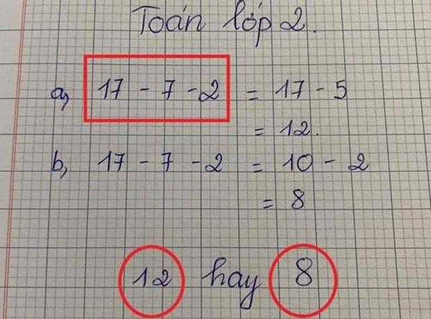Bài toán Tiểu học 17-7-2=?, dân tình chắc nịch đáp án 8 nhưng kết quả lại không phải vậy?-1